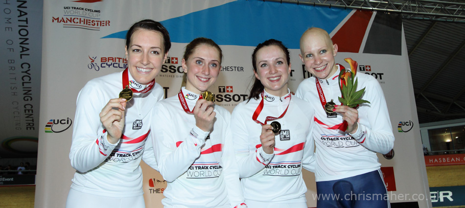 World Record Beaters Dani King, Laura Trott, Elinor Barker & Jo Rowsell