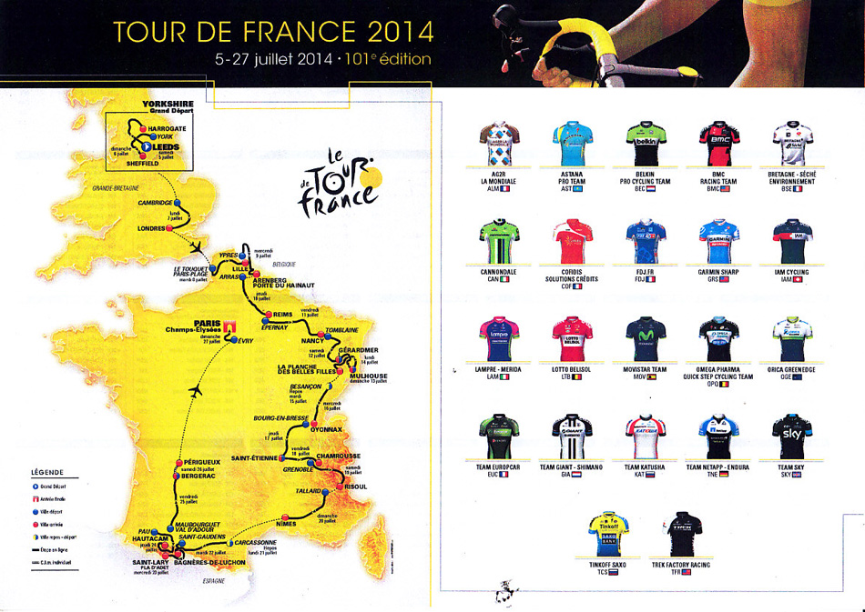 2014 TDF Route & Team Colours