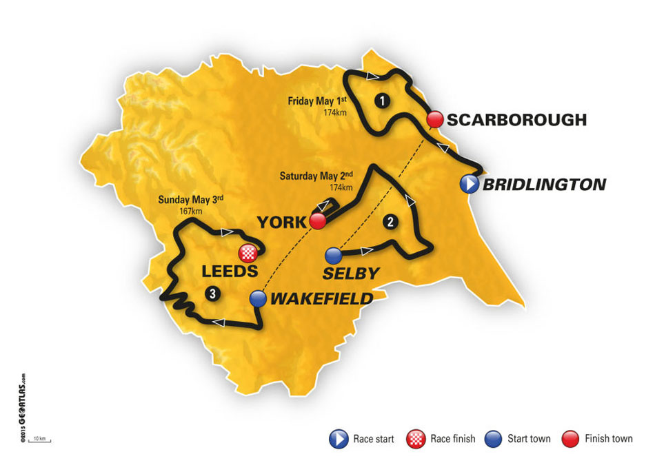 Tour de Yorkshire 2015 Route Map