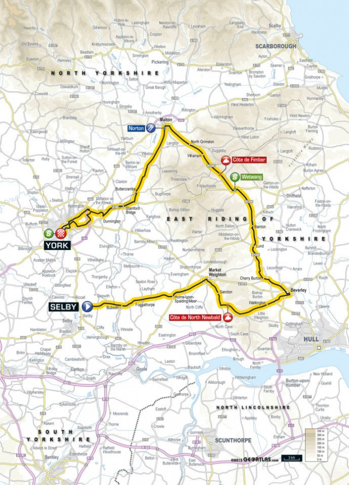 Tour de Yorkshire 2015 Route Stage Two: Selby to York