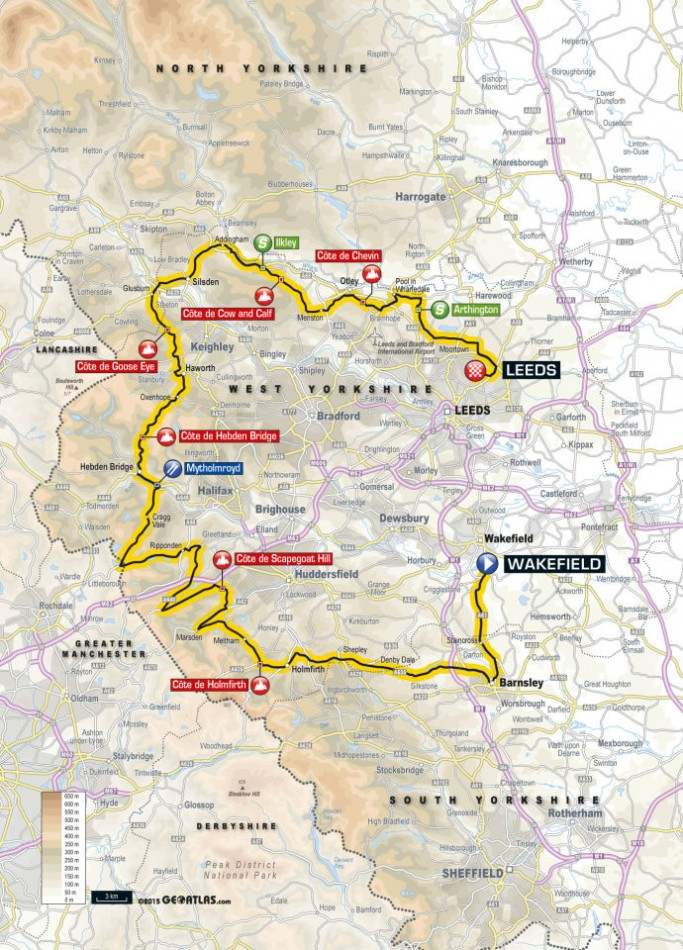 Tour de Yorkshire 2015 Route Stage Three: Wakefield to Leeds