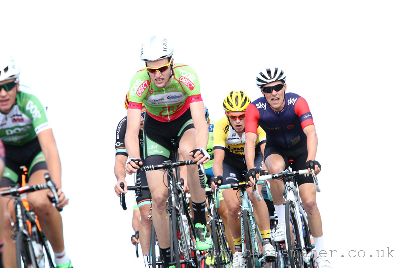 Conor Dunne took the YodelDirect Sprint Jersey on Stage 1, Seen here crossing the Nick O'Pendle