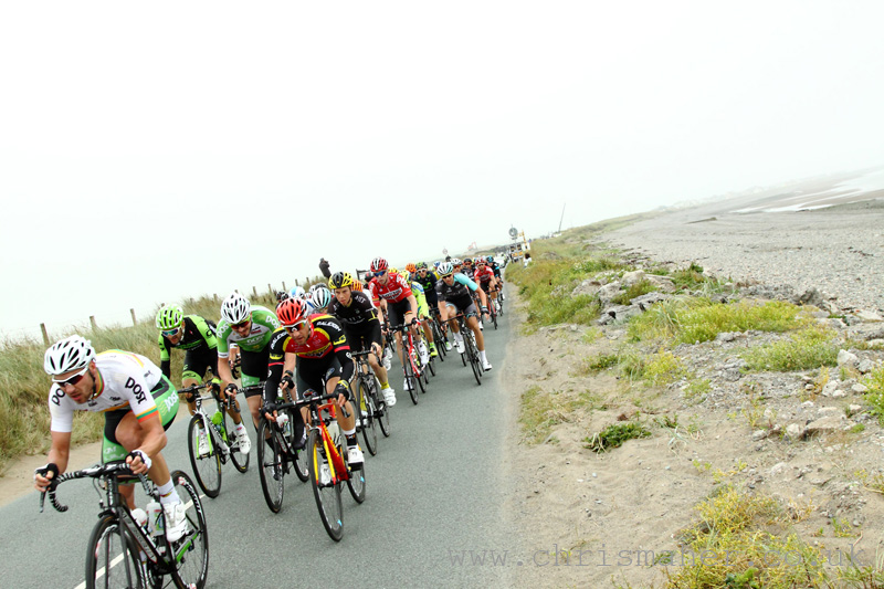 Peloton on route to the first YodelDirect Sprint along the Cumbrian coast.