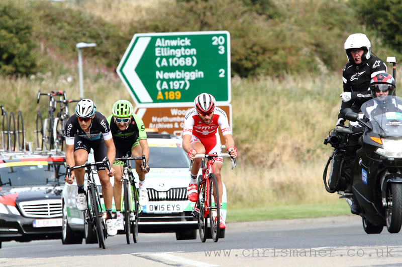 Aviva Tour of Britain 2015 Stage Four, Edinburgh to Blyth, 25Kms to go heading to Morpeth...
