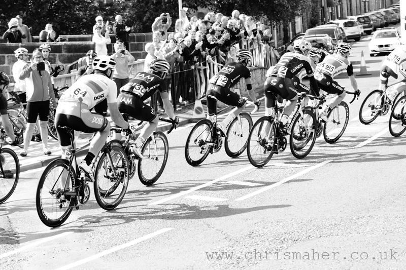 Aviva Tour of Britain 2015 Chasing peloton in Haydon Bridge...