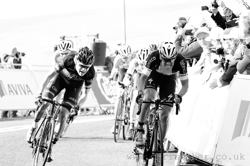 Aviva Tour of Britain 2015 chasing points on Stage Five on the finish line... at Hartside.