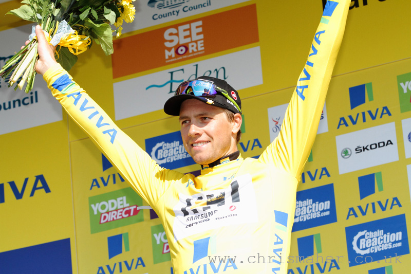 Aviva Tour of Britain 2015 Stage Five podium & new yellow jersey holder... Edvald Boasson Hagen, MTN Qhubeka.