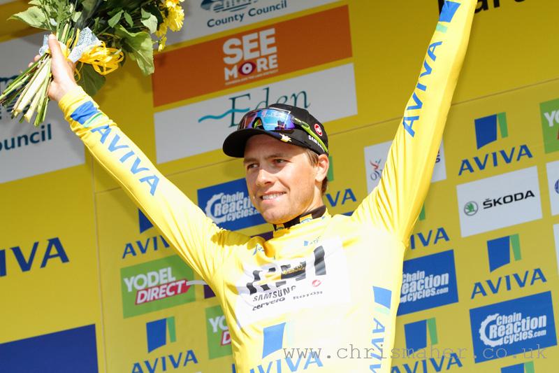 Aviva Tour of Britain 2015 Stage Five podium & new yellow jersey holder... Edvald Boasson Hagen, MTN Qhubeka.