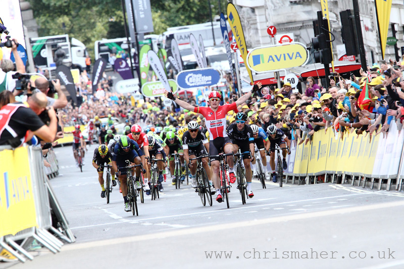Aviva Tour of Britain 2015 | Stage Eight - London Greipel crosses the line first, but relegated!