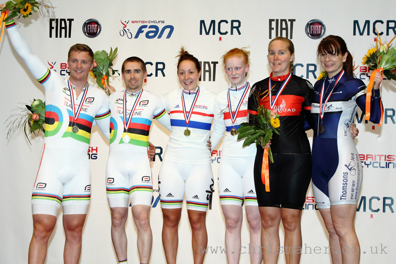 Pete Mitchell (L-R), Neil Fachie, Helen Scott, Sophie Thornhill, Laura Cluxton & Lyndsay Carson.