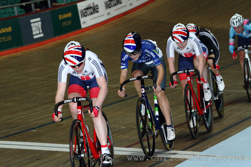 Emily Nelson, Elinor Barker & Emily Kay... Women's Points Race.