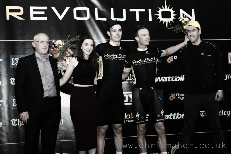 Series 13 Champion Leaders Podium, Pedalsure, Andy Tennant & Iljo Keisse