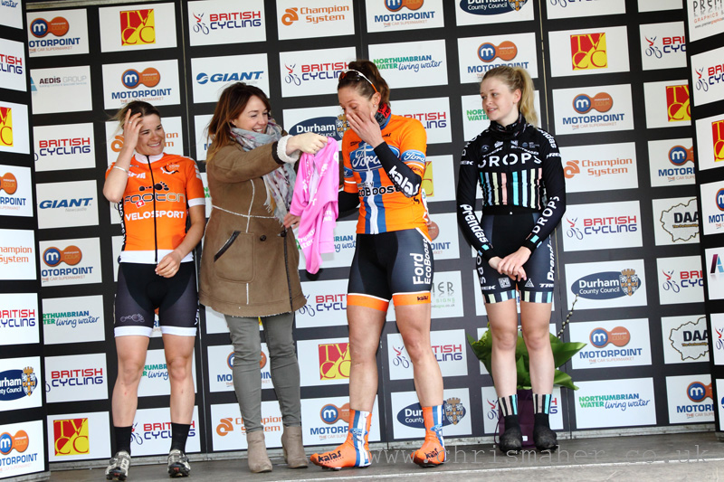 Emotional Nikki Juniper receives the Women's Road Series Leaders Jersey for Round 3