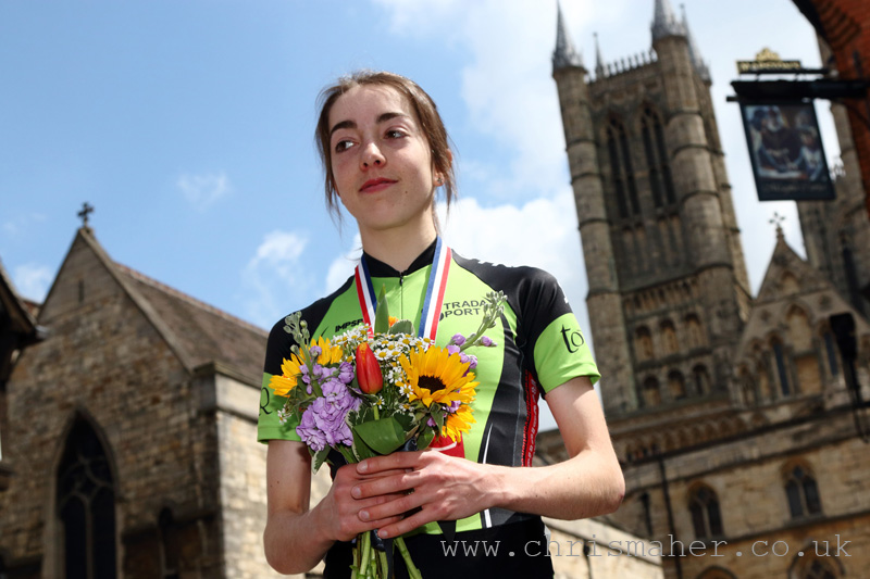 Third Junior Sophie Wright, Renvale RT with Lincoln Cathedral backdrop.