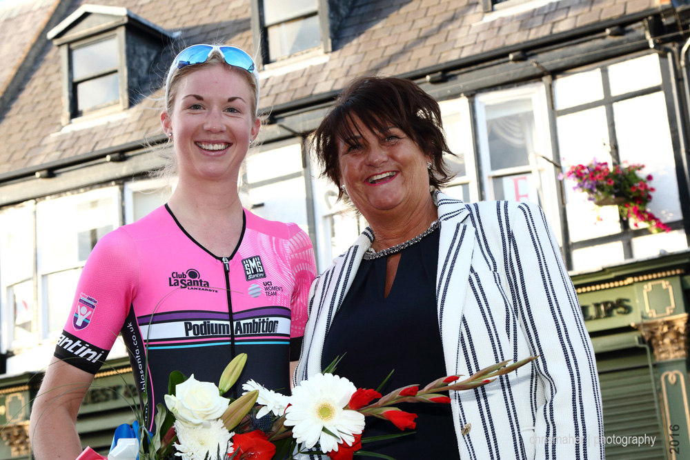 Race Winner Gabby Shaw with Title Sponsor Pam Wainman from Jadan Press