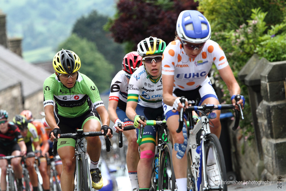 Aviva Women's Tour 2016 | Stage 3 Ashbourne to Chesterfield, Banks Road, Katie Hall leads...