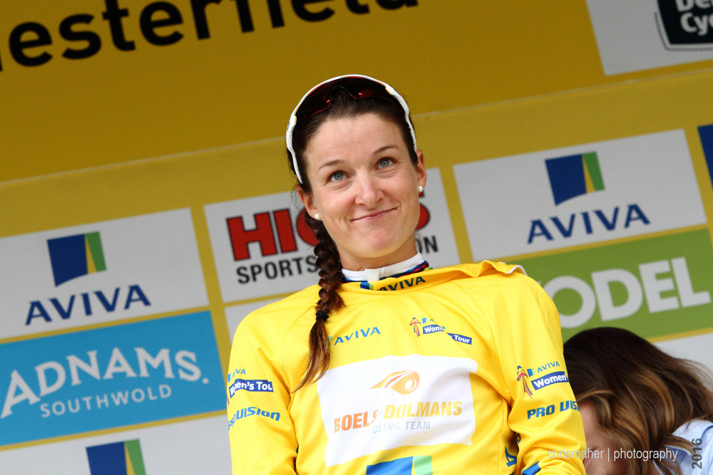 Aviva Women's Tour 2016 Stage 3 winner & new yellow jersey holder, Lizzie Armitstead...