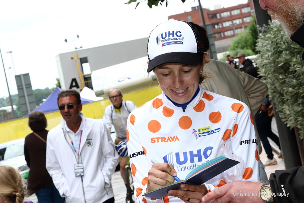 Aviva Women's Tour 2016 | Stage 4 Nottingham to Stoke-on-Trent Katie Hall post race autographs...