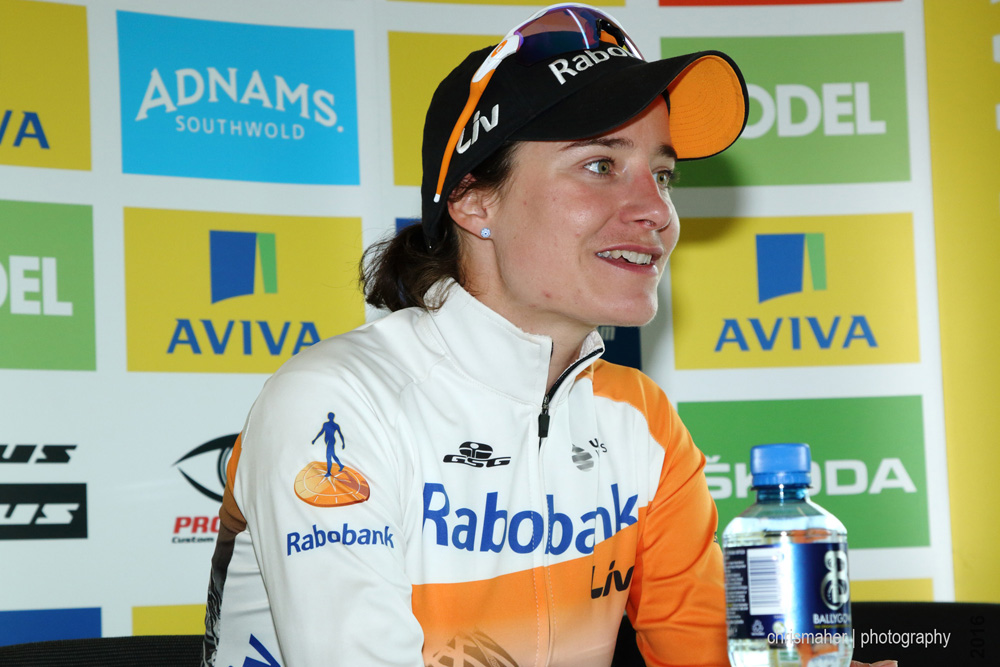 Aviva Women's Tour Stage Four Post Race Press with Stage winner 91 VOS Marianne Raboliv Womencyclingteam