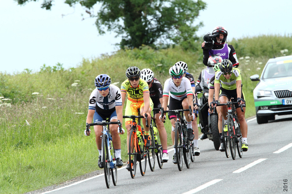 Leading seven rider group with the virtual leader on the road. Aviva Women's Tour 2016 Stage five