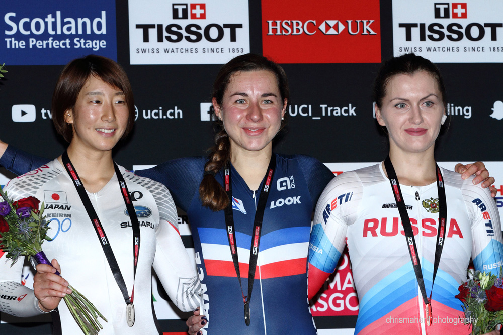 UCI Track World Cup 2016/7 | Glasgow - Round One, Day Three. Women's Scratch Race Podium.