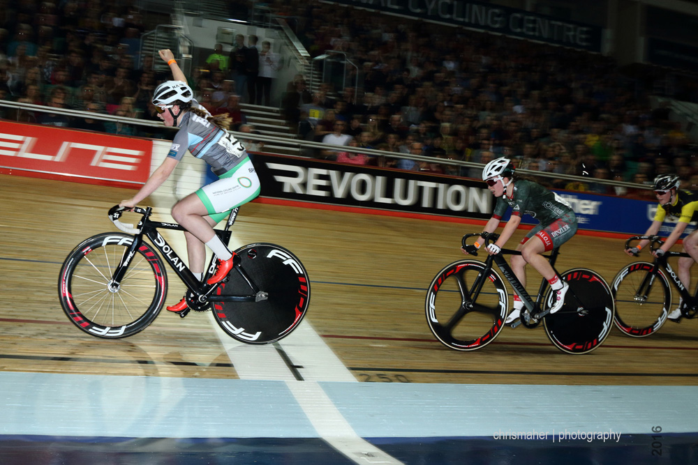 HOY Future Stars Scratch Race Girls Series Leader Ellie Russell claims the first victory in this evening.